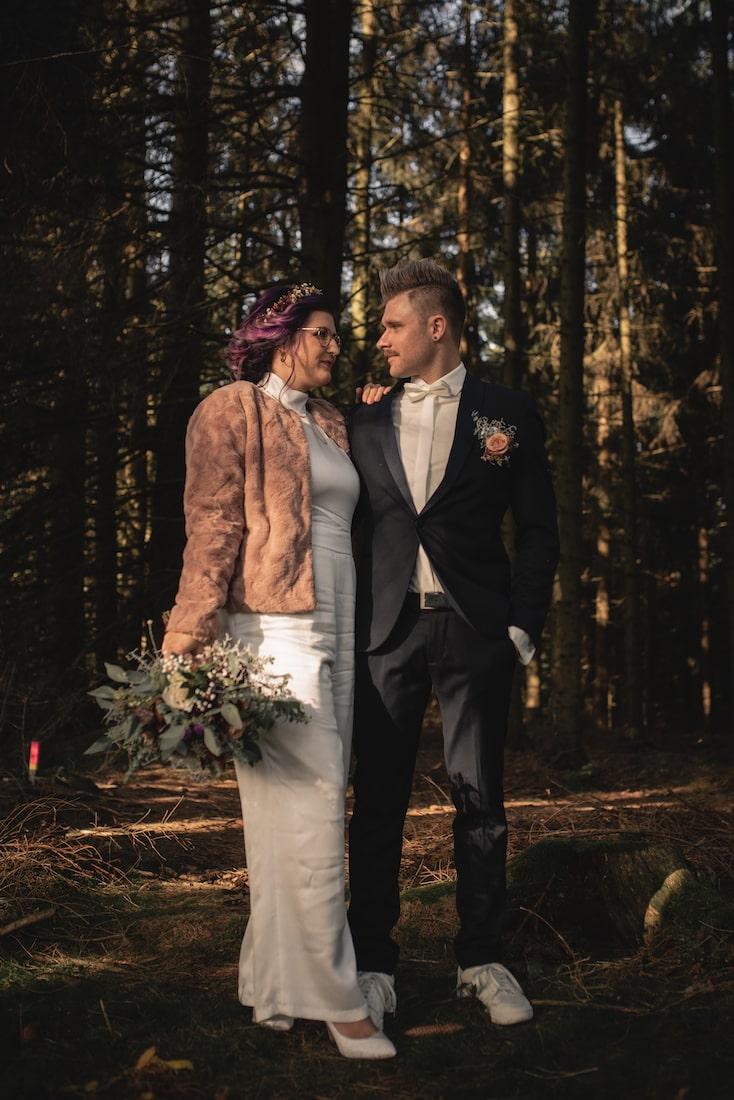 Fotoshooting Hochzeit Outdoor Wald