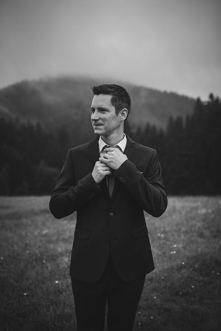 Portrait Mann schwarz-weiß Hochzeit
