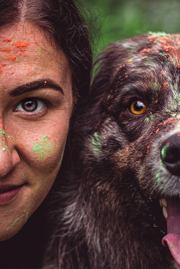 Hunde-Fotoshooting Holi Farbpulver